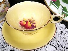 PARAGON TEA CUP AND SAUCER YELLOW & PAINTED FRUITS INSIDE THE TEACUP