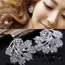 Women Rhinestone Snowflake Ear Studs Crystal Jewelry Leaf Earrings