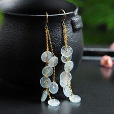 Natural Grade A Jadeite White Safe Circle with 18K Yellow Gold Dangle Earrings