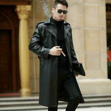 Men's Real Leather Long Jacket Coats Trench Overcoats Business Luxury Outwear @@