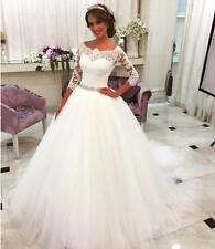 Modest Lace Half Sleeves Ball Gown Wedding Dresses Bride Dress with Crystal Belt