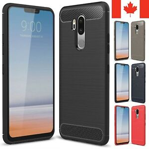 For LG G7 Case ThinQ / One - Carbon Fiber Armor TPU Shockproof Hybrid Cover