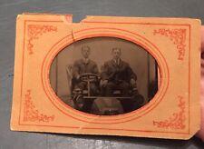 Vintage Tintype Of Two Men In Car W/Torn Paper Mat—As Is