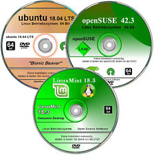 ubuntu, openSUSE, LinuxMint,   Linux Paket 64 bit    ✔ Betriebssystem 3 DVD`s