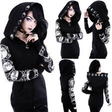 Gothic Damen Hooded Sweat Jacke Mantel Langarm Kapuzenpullover Sweatjacke M-3XL