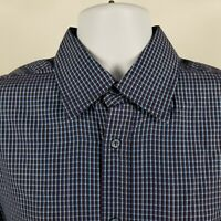 Bugatchi Uomo Mens Blue Brown Check L/S Dress Button Shirt Sz Large L