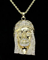 """14k Gold Plated Large Solid Jesus Piece Cz Pendant 24"""" Rope Chain Necklace"""