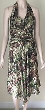 DONNA RICCO 100% Silk Halter Sun Dress Size 4 Brown Black Green