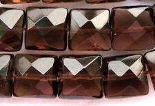 Natural Smoky Quartz Faceted Flat Square Beads 8×8mm 15""