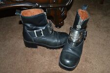 Harley Davidson Leather Boots Ladies Sz 6.5 M Silver Metal Engraved Plate