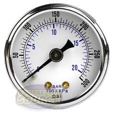 """1/8"""" NPT Air Pressure Gauge 0-300 PSI Back Mount 1.5"""" Face"""