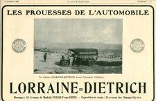 Publicité ancienne automobiles Lorraine Diétrich 1908 issue de magazine