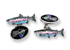 Sterling Silver Fly Fishing Trout Salmon Cuff links