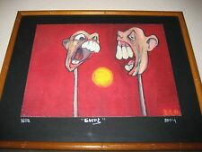 Signed B.G. O4 AND SIGNED Goofs No.28 Animated Heads on a stick Animation Art