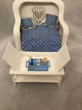 Vintage Barbie Plastic White Wicker Furniture Chair / Bed Cushions Coffee Table