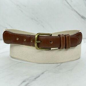 Coach Brown Vintage Web Leather Trim Belt Size 32