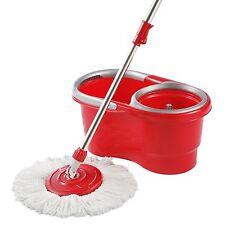 360° Spinning Mop Bucket Set Lightweight Ergonomic Design w/2 Microfiber Heads