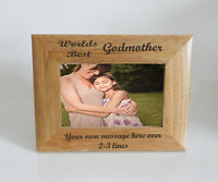Worlds Best Godmother 6 x 4 Wooden Photo Frame  - Personalise this frame  Free