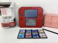 NINTENDO 2DS FTR-001 Red Console Handheld System Bundle With Games/ Charger