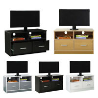 TV Unit Stand 2 Drawers Modern entertainment cabinet furniture White Black Beech
