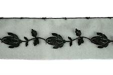 13.8 metres × 50mm Vintage Black Floral Embroidery Organza Lace Trim