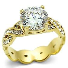 Hcj Gold Tone Round Cz Engagement Ring with Small Cubic Zirconia Band Ring Sz 6
