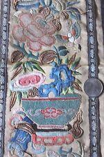 Beautiful Antique Hand Emb Blind Stitch Chinese Silk Panel~Gold Metallic Thread