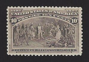 US #237 1893 Black Brown Perf 12 Mint NG F-VF SCV $100