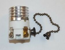 PORCELAIN PULL CHAIN LAMP SOCKET INTERIOR WITH ANTIQUE BRASS CHAIN NEW 48210AJB