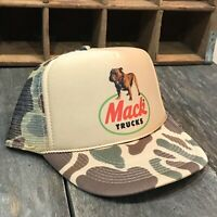 Mack Trucker Hat Vintage 80's SnapBack Brown Hunting Old Camo Cap Semi Truck