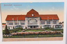 27346 AK DARMSTADT Hauptbahnhof Bahnhof mit Straßenbahn u. Blumen Anlage 1913