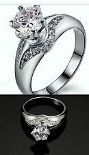 1.5 CARAT WEDDING/ENGAGEMENT RING( SIZE 7)18K SILVER GOLD PLATED +  EARRINGS