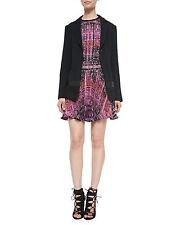 NWT Nanette Lepore Leather Patch Blazer Black Size 6 $578