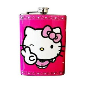 Hello Kitty Pink Hip Flask Stainless Steel Screw Cap Liquor Drink Cute FH7