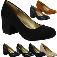 NEW WOMENS LADIES PLAIN OFFICE WORK COMFY LOW MID CHUNKY HEEL COURT SHOES SIZE