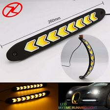 Car-styling flexible COB LED DRL white Daytime Running Light yellow Turn signal