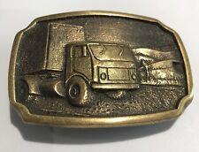 Semi Truck Big Rig Box Trailer BTS Brass Vintage Belt Buckle Trucker Hipster