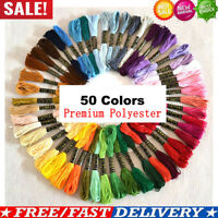 50 Coloured Egyptian Polyester Embroidery Cross Stitch Thread Floss Hand Skeins