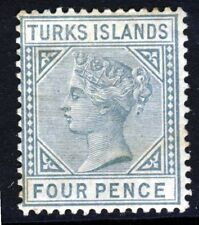 TURKS & CAICOS ISLANDS QV 1884 Four Pence Grey Die I Crown CA SG 57 MINT