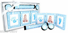New Baby Boy Present Christening Gift Photo Frame Hand Footprints Kit 4 Set Blue