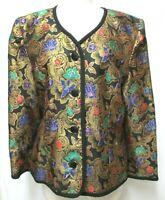 Talbots Kathryn Conover Vintage jacquard top blazer blouse floral Size Sz 14