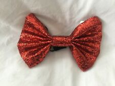 Red Glitter Bow Tie Fancy Dress Costume Large Outfit Party Clown Oversized