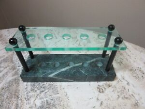 Glass and green marble 5 pen holder