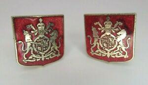 Vintage UK United Kingdom Royal Coat of Arms Cufflinks Red & Silver