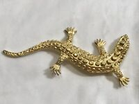 "Vintage Rhinestone Gold Tone Texture Lizard Salamander Pin Brooch 4"""