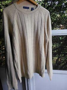 Men's Grant Thomas Sweater - Linen/Cotton Crew Neck - XL - Oatmeal