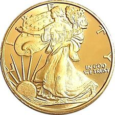 American Silver Eagle  24k Gold Gilded  .999 pure Silver Coin Half Troy Ounce BU