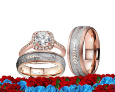 His and Her TUNGSTEN METEORITE Rose GOLD Cz Wedding Bands, Matching Rings Set