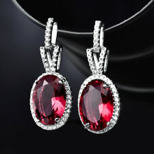 HUCHE Luxury Oval Red Diamond Ruby White Gold Filled Drop Women Party Earrings
