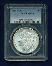U.S.  1884-CC  MORGAN SILVER DOLLAR, GEM UNCIRCULATED, PCGS CERTIFIED MS-66!